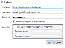 Přihlašovací údaje do Jiry. Kromě klasického připojení je podporován i OpenAM.