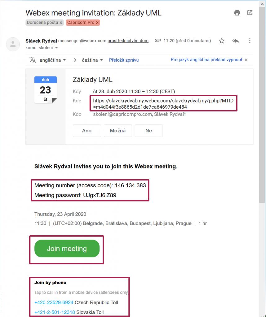 Příklad pozvánka na Webex